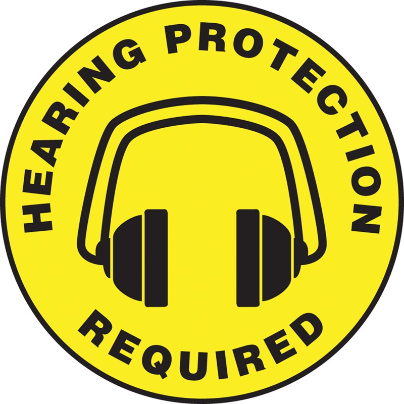 Accuform Signs Slip Gard 17 Dia Hearing Protection Required Floor