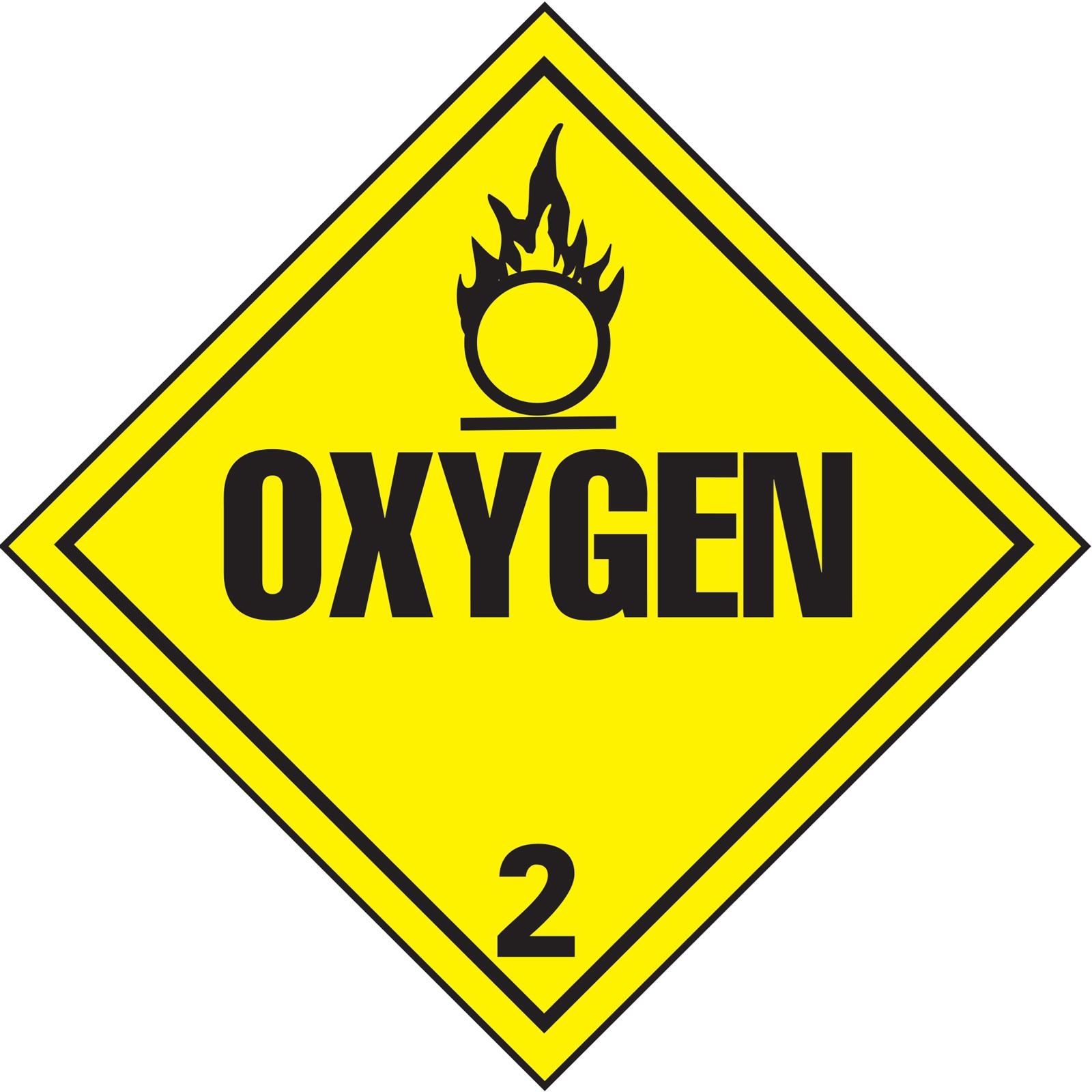 Oxygen 2 DOT Hazardous Materials Vehicle Placard