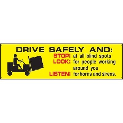 accuform signs drive safely and stop at all blind spots look for