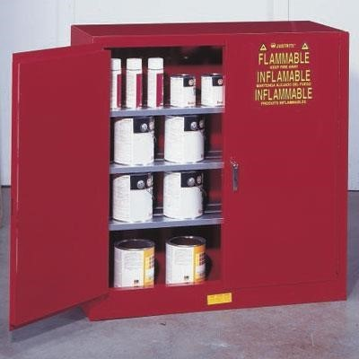 40 gallon red paint ink storage cabinet with manual doors 3 shelves - Paint Storage Cabinets