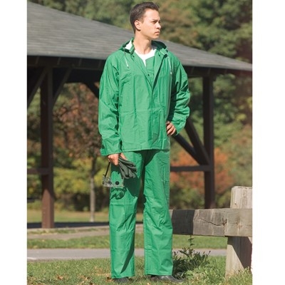 NS Protective Apparel Green Chemical /& Flame-Resistant 2-Piece Rain Suit Only