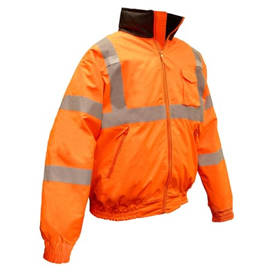 Orange Radians Class 3 Reflective Safety Bomber Jacket with Quilted Liner