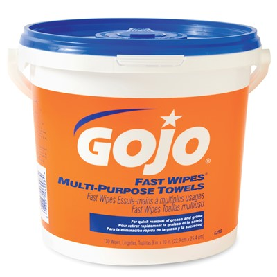 gojo fast wipes hand cleaning towels 130 bucket 23576