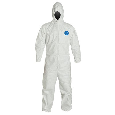 Spray Painting Vicogard Disposable Isolation Coveralls Polypropylene PP Protective Coverall Suit Dust-proof with Hood for Manufacturing Industrial Front Zipper Elastic Wrists Ankles 2XL, White